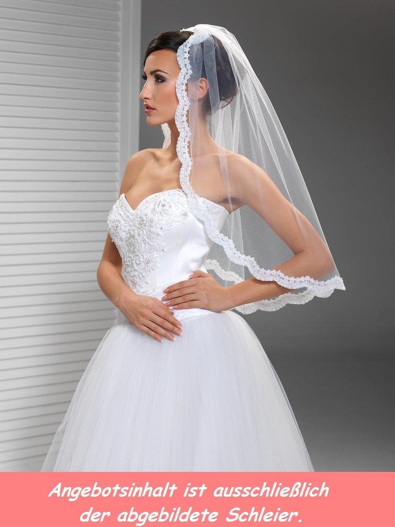 Brautschleier mit spitze glasperlen pailletten online for Brautschleier ivory einlagig